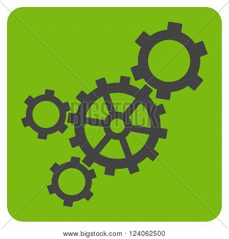 Mechanism vector icon symbol. Image style is bicolor flat mechanism icon symbol drawn on a rounded square with eco green and gray colors.