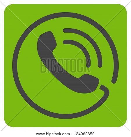Phone Call vector pictogram. Image style is bicolor flat phone call pictogram symbol drawn on a rounded square with eco green and gray colors.