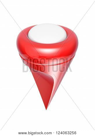 Red map pointer on white background 3d model