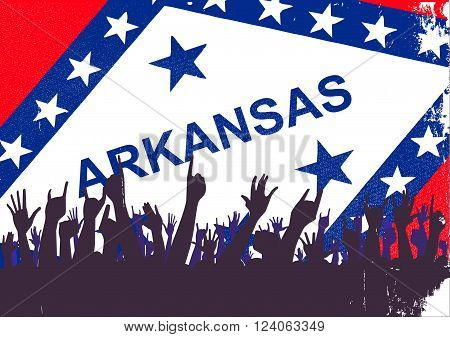 Audience happy reaction with Arkansas State flag background