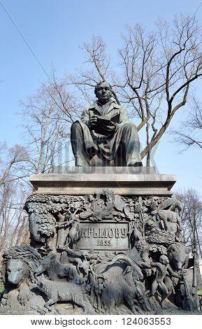 Monument to Ivan Krylov in the Summer Garden in St Petersburg Russia.