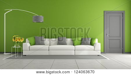 Green contemporary living room with white sofa and gray closed door - 3D Rendering
