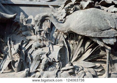 Fragment of monument to Ivan Krylov in the Summer Garden in St Petersburg Russia.