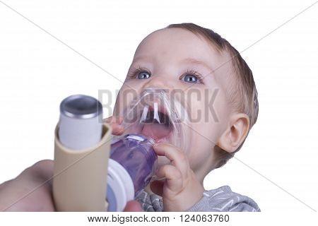 Infant Using Asthma Inhalator