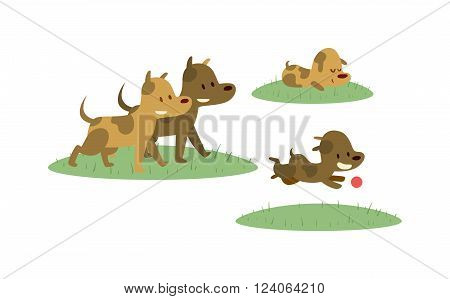 Dogs happy family have fun and dogs cheerful family running vector. Happy dogs family walking with ball in green field cartoon vector illustration.