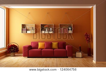 Living room with red sofa and wooden crates used as a bookcase - 3D Rendering