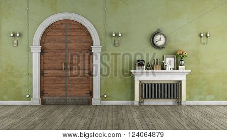 Retro Home entrance with old portal and vintage radiator- 3D Rendering