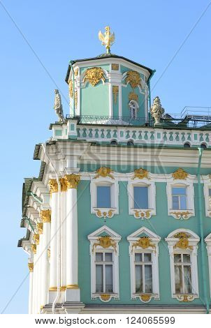 Telegraph tower of the Winter Palace at sunny day in St.Petersburg Russia.