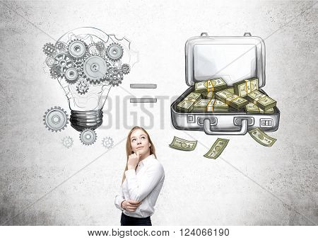 Businesswoman with hand at chin looking up bulb and open case with money equation drawn on concrete wall behind. Concept of making money.