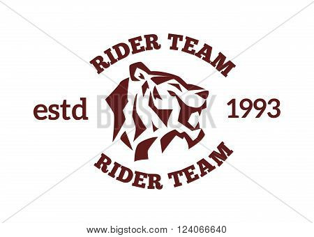 Team logo with tiger face and wildcat siberian tiger face. Tiger fase power symbol. Danger tiger fase animal expression. Portrait siberian tiger by safari animal. Tiger face head silhouette wild animal logo vector.