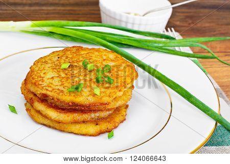 Fried Potato Pancakes. Belarusian and German Cuisine. Studio Photo