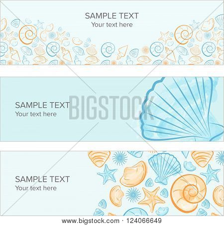 Seashell summer banner with draw, icon created with illustrator watercolor brush