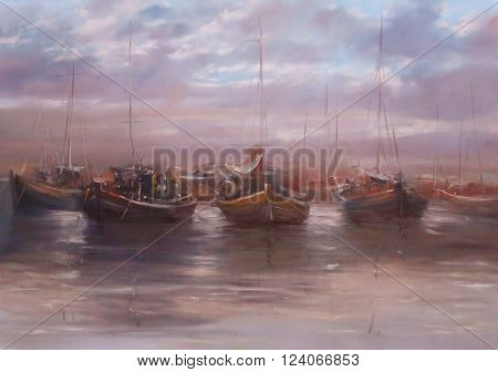 boats moored in the harbor  , handmade oil painting on canvas