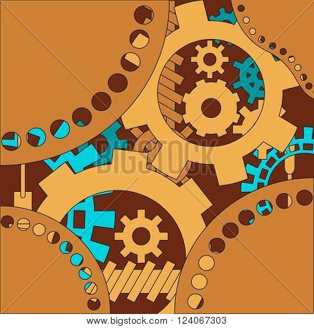 Mechanism background with cogwheels and gears. Vector illustration