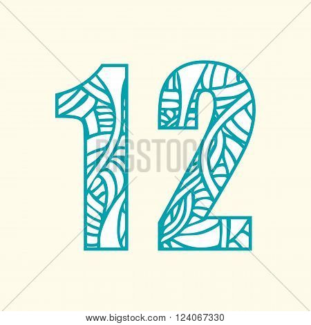 Set of doodle numbers including two numbers with abstract pattern on them. Numbers one and two.