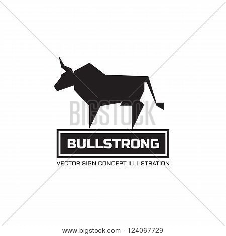 Bull silhouette - vector logo concept illustration. Animal buffalo logo. Taurus minimal illustration. Vector logo template. Design element.