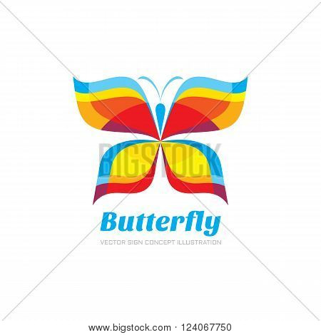 Butterfly vector logo concept illustration in flat style design. Butterfly abstact sign creative illustration. Vector logo template. Design element.