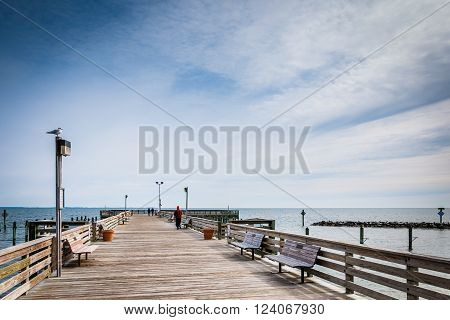 The Fishing Pier At Chesapeake Beach, Along The Chesapeake Bay In Maryland