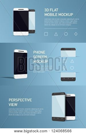 Set of minimalistic 3d isometric illustration cell phone. perspective view. Mockup generic smartphone. Template for infographics or presentation UI design. Concepts graphic design web banner print