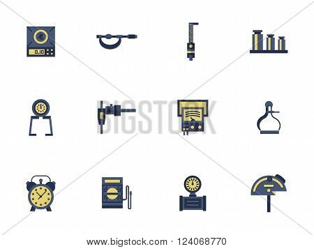 Measuring tools and devices for engineering, math, construction or calibration. Metrology science. Collection of flat style colorful vector icons. Elements for web design, website, mobile app.