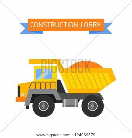 Delivery tipper transportation construction vehicle and road tipper machine equipment. Tipper dumper business truck transportation sand. Tipper yellow truck construction industry vector illustration.
