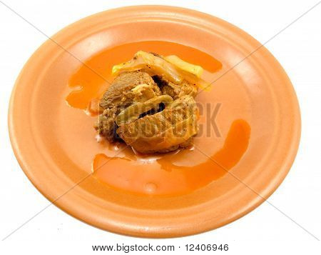 Brown Plate With Meat