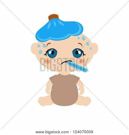 Illustration of a cute sick sitting baby with ice bag and thermometer.
