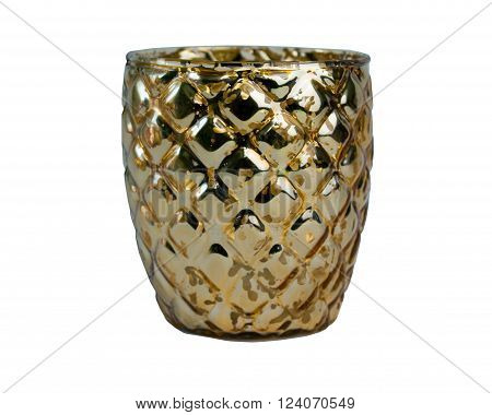 Golden ornamented candle isolated on white background
