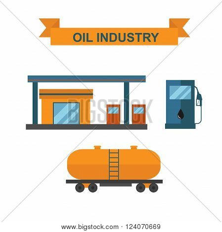 Production export industry gasoline truck and gasoline production power technology business. Gasoline refueling, fuel pump, gas station. Oil and gasoline producing slots at oil and gas industry vector