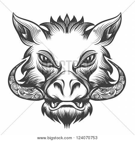 Boar head drawn in tattoo style. Isolated on white.