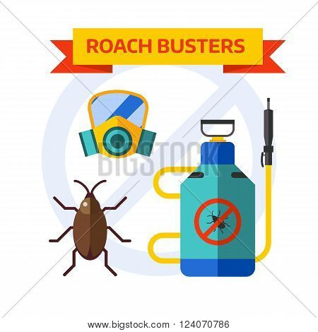 Home insects house protection and home insects control equipment. Home insects termite insecticide. Pesticide nature sprayer vector icons. Pest control worker spraying pesticides home insects vector.