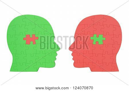 Human relationship concept 3D rendering isolated on white background