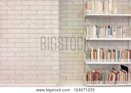 BARCELONA, SPAIN - MARCH 22, 2016: Some books on shelves in a library. Empty copy space for editor's text.