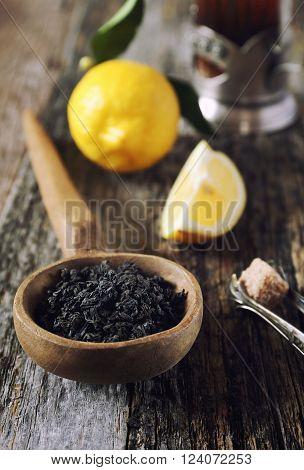 Tea composition: leaf black tea lemon and brown sugar