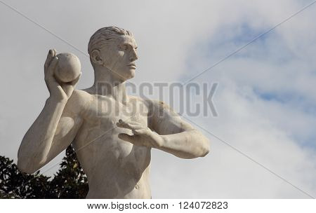 ROME ITALY - FEBRUARY 9 2016: Weight trhow Statue in the Stadio dei Marmi Stadium of the Marbles in the Foro Italico designed in the 1920s by Enrico Del Debbio