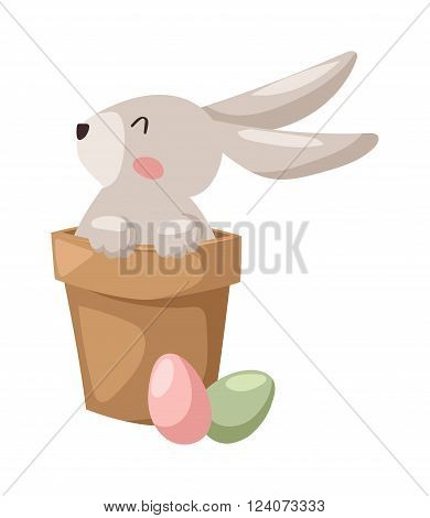 Gray easter rabbit bunny with egg traditional symbol of spring seasonal celebration and happy bunny rabbit head. Easter Bunny and eggs cute cartoon animal flat vector illustration.