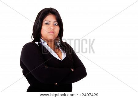 Large  Latin Woman Angry, Isolated On  White Studio Shot