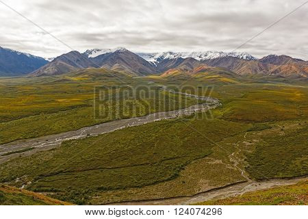 Colorful Mountains above a Tundra Valley from Polychrome Pass in Denali National Park in Alaska
