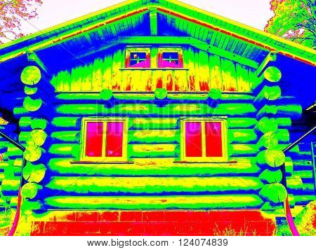 Detail of beams in cabin wall. Traditional construction of timber house in thermography scan.