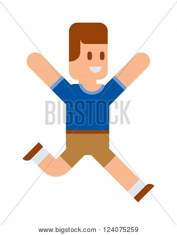 Funny cute vector boy running. Cartoon boy character, boy walking. Flat cute syle boy vector illustration