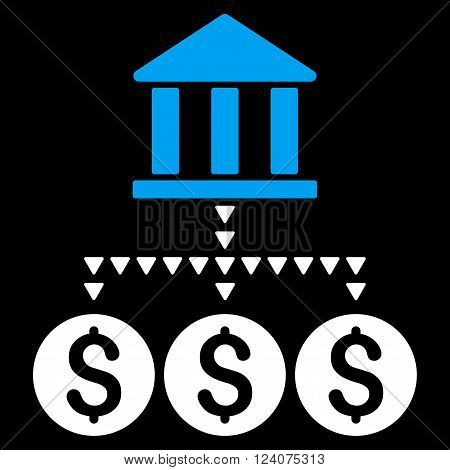 Bank Structure vector icon. Bank Structure icon symbol. Bank Structure icon image. Bank Structure icon picture. Bank Structure pictogram. Flat blue and white bank structure icon.