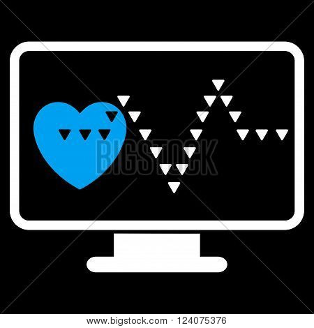 Cardio Monitoring vector icon. Cardio Monitoring icon symbol. Cardio Monitoring icon image. Cardio Monitoring icon picture. Cardio Monitoring pictogram. Flat blue and white cardio monitoring icon.