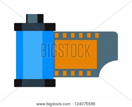 Camera film roll movie cinema negative and films photo film in cartridge. Camera film rolls strip photography. Filmstrip photograph equipment. Camera vintage film roll cartridge vector illustration.