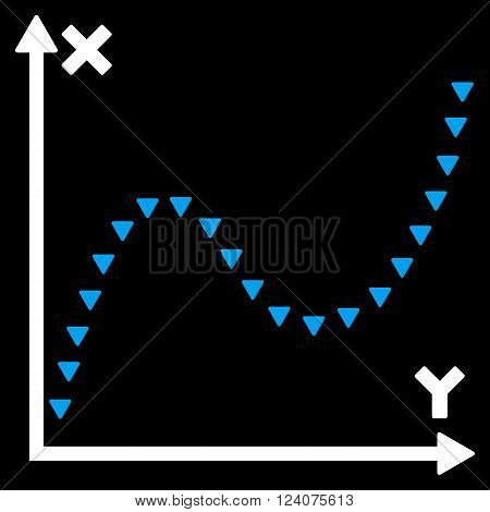 Dotted Function Graph vector icon.Dotted Function Graph pictogram.