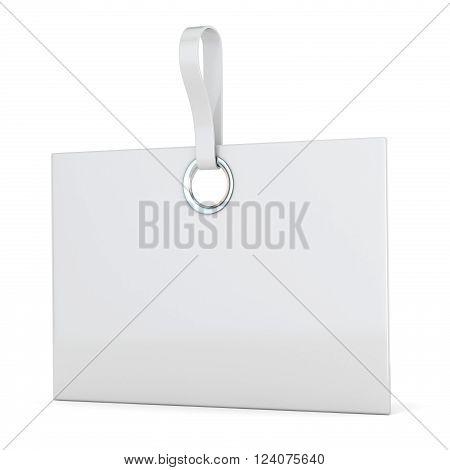 White plastic rectangular label. Vertical. 3D render illustration isolated on white background