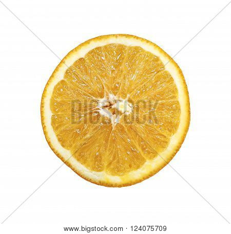 Half cut of orange isolated on white background
