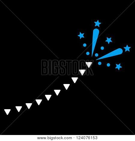 Fireworks Trace vector icon. Fireworks Trace icon symbol. Fireworks Trace icon image. Fireworks Trace icon picture. Fireworks Trace pictogram. Flat blue and white fireworks trace icon.