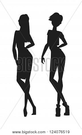 Concept of modern fashion girls black silhouette and beautiful style black silhouette of girls. Girls silhouette sexy girl in various poses isolated on white background vector illustration.