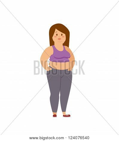 Cartoon character of fat woman, Dieting fitness. Fat woman standing cartoon vector flat illustration. Fat figure woman