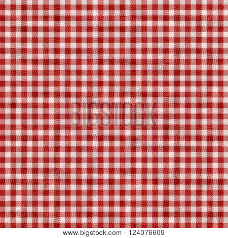 Red Checkered Fabric Texture Background